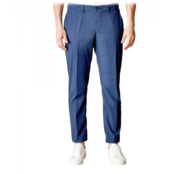 Cruna - New Town Trousers in Seersucker - 521 - Navy - Handmade in Italy - Luxury High Quality Pants