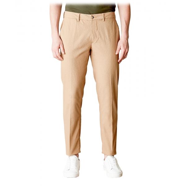 Cruna - Pantalone New Town in Seersucker - 521 - Terra - Handmade in Italy - Pantaloni di Alta Qualità Luxury