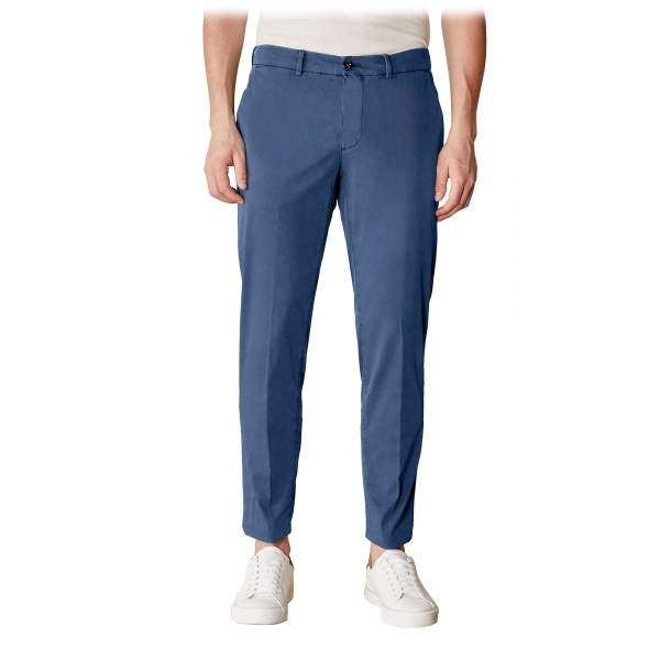 Cruna - New Town Trousers in Cotton - 520 - Avio - Handmade in Italy - Luxury High Quality Pants