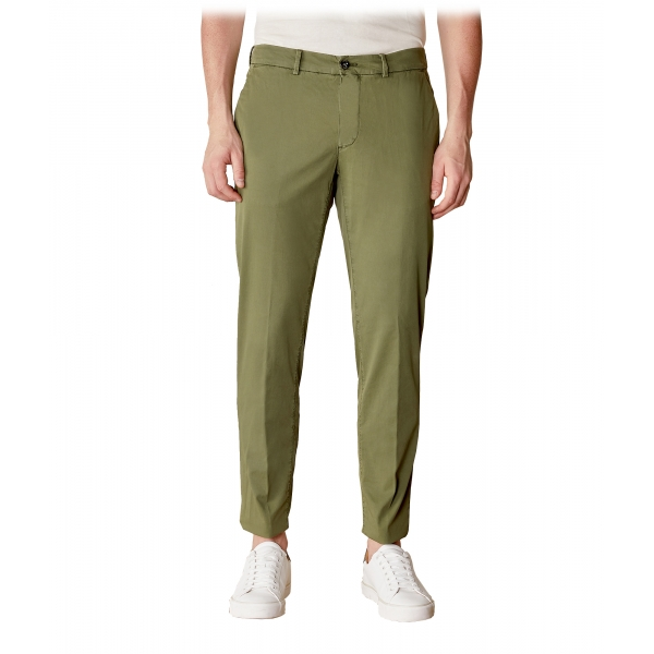Cruna - New Town Trousers in Cotton - 520 - Army - Handmade in Italy - Luxury High Quality Pants