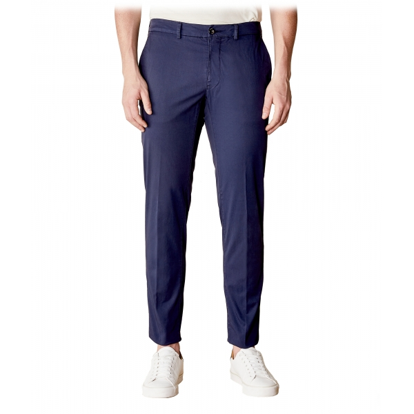 Cruna - New Town Trousers in Cotton - 520 - Navy - Handmade in Italy - Luxury High Quality Pants