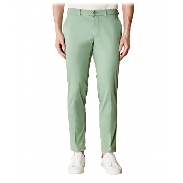 Cruna - New Town Trousers in Cotton - 520 - Salvia - Handmade in Italy - Luxury High Quality Pants