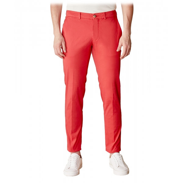 Cruna - New Town Trousers in Cotton - 520 - Red - Handmade in Italy - Luxury High Quality Pants