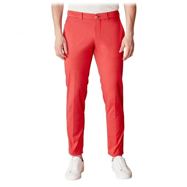Cruna - Pantalone New Town in Cotone - 520 - Rosso - Handmade in Italy - Pantaloni di Alta Qualità Luxury