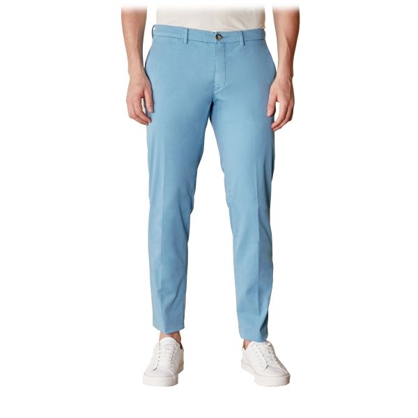 Cruna - New Town Trousers in Cotton - 520 - Light Blue - Handmade in Italy - Luxury High Quality Pants