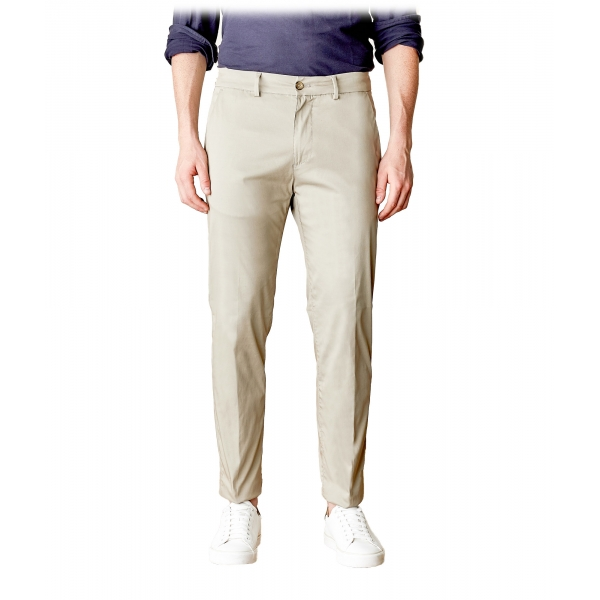 Cruna - Pantalone Marais in Cotone - 566 - Beige - Handmade in Italy - Pantaloni di Alta Qualità Luxury