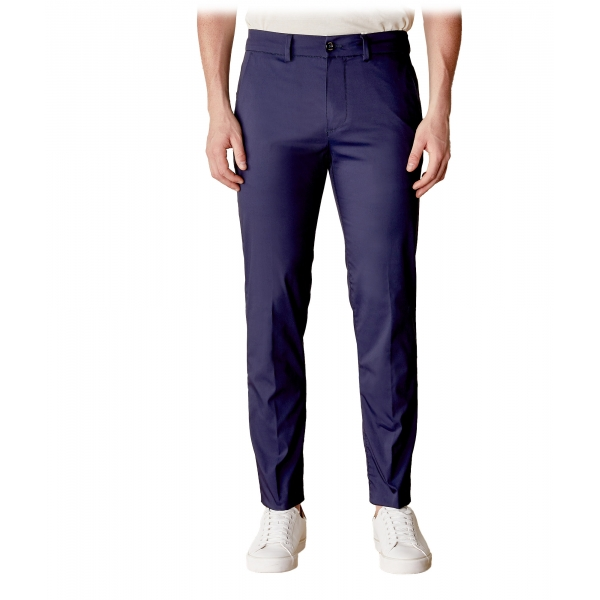 Cruna - Marais Trousers in Cotton - 566 - Navy - Handmade in Italy - Luxury High Quality Pants