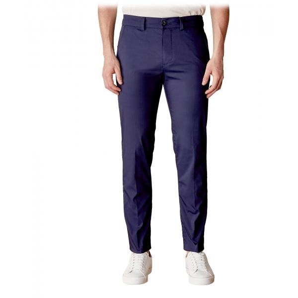 Cruna - Pantalone Marais in Cotone - 566 - Navy - Handmade in Italy - Pantaloni di Alta Qualità Luxury