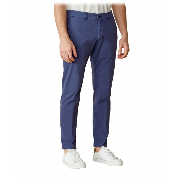 Cruna - Marais Trousers in Cotton - 510 - Blue - Handmade in Italy - Luxury High Quality Pants