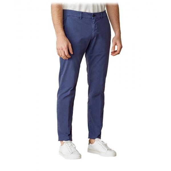 Cruna - Pantalone Marais in Cotone - 510 - Blu - Handmade in Italy - Pantaloni di Alta Qualità Luxury