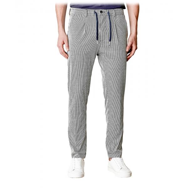 Cruna - Pantalone Mitte in Seersucker di Lino - 567 - Navy - Handmade in Italy - Pantaloni di Alta Qualità Luxury
