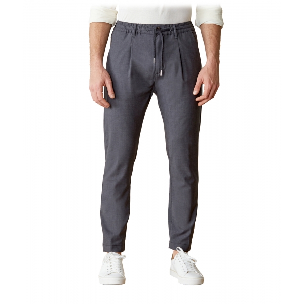 Cruna - Mitte Trousers in Fresh Wool - 560 - Medium Grey - Handmade in Italy - Luxury High Quality Pants