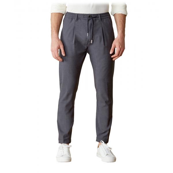 Cruna - Pantalone Mitte in Fresco Lana - 560 - Grigio Medio - Handmade in Italy - Pantaloni di Alta Qualità Luxury