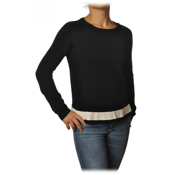Gaëlle Paris - Roulet Crater Neck Sweater - Black White - Knitwear - Made in Italy - Luxury Exclusive Collection