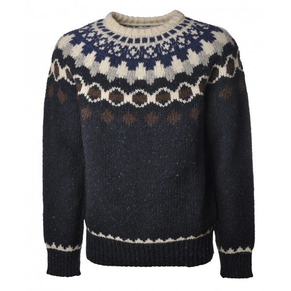 Woolrich - Crewneck Nap Wool Jacquard Sweater - Blue - Pullover - Luxury Exclusive Collection