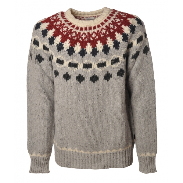 Woolrich - Crewneck Nap Wool Jacquard Sweater - Grey - Pullover - Luxury Exclusive Collection