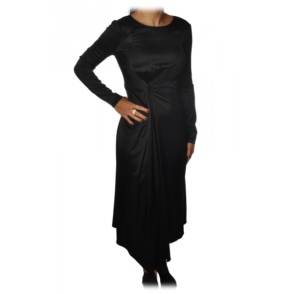 Elisabetta Franchi - Long Dress with Long Sleeve - Black - Dress - Made in Italy - Luxury Exclusive Collection