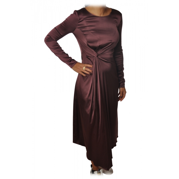 Patrizia Pepe - Long Dress with Long Sleeve - Bordeaux - Dress - Made in Italy - Luxury Exclusive Collection