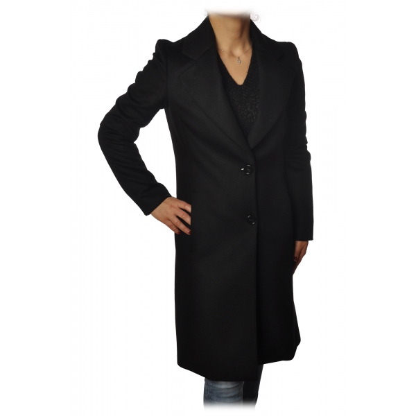 Patrizia Pepe - Cappotto 3/4 Monopetto con Rever Allungato - Nero - Giacca - Made in Italy - Luxury Exclusive Collection