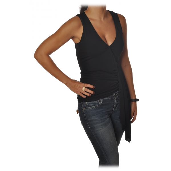 "Patrizia Pepe - Model with Deep ""V"" Neckline - Black - Top - Made in Italy - Luxury Exclusive Collection"
