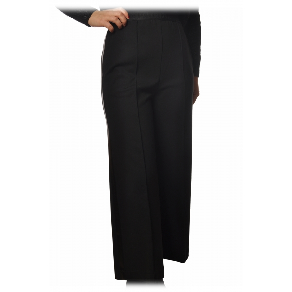 Patrizia Pepe - Pantalone a Vita Alta Gamba Ampia - Nero - Pantalone - Made in Italy - Luxury Exclusive Collection