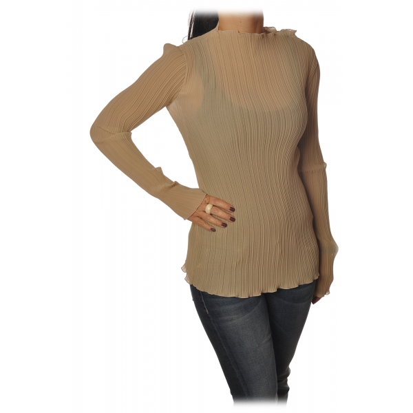 Patrizia Pepe - Tunic with Long Sleeve Plissé - Beige - Shirt - Made in Italy - Luxury Exclusive Collection