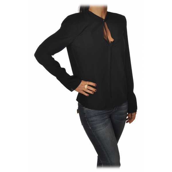 Patrizia Pepe - Shirt with Long Sleeve and Shoulder Straps - Black - Shirt - Made in Italy - Luxury Exclusive Collection