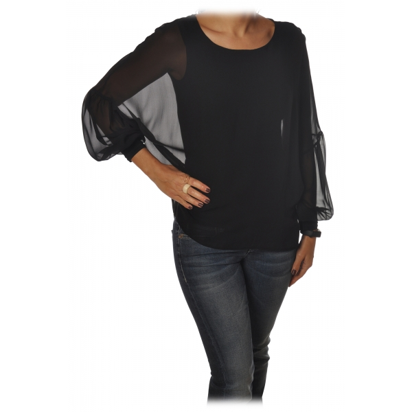 Patrizia Pepe - Soft Blouse with Stretch Tank Top - Black - Shirt - Made in Italy - Luxury Exclusive Collection