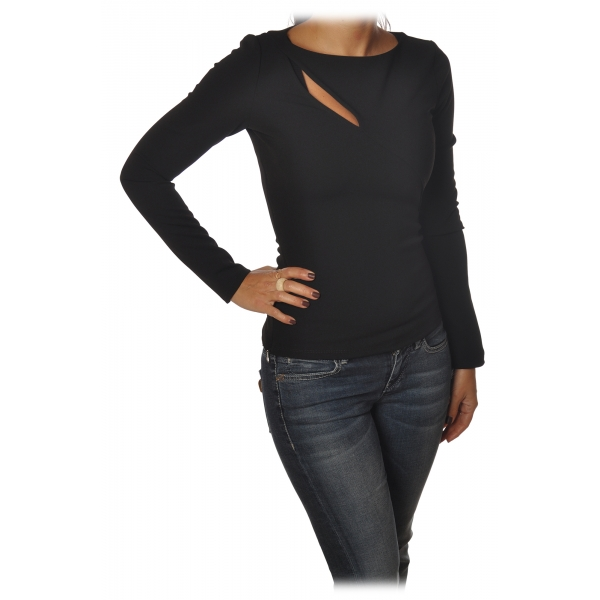 Patrizia Pepe - Sweater with Front and Back Opening - Black - Pullover - Made in Italy - Luxury Exclusive Collection