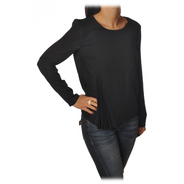 Patrizia Pepe - Tunic with Long Sleeve and Cut on the Front - Black - Shirt - Made in Italy - Luxury Exclusive Collection