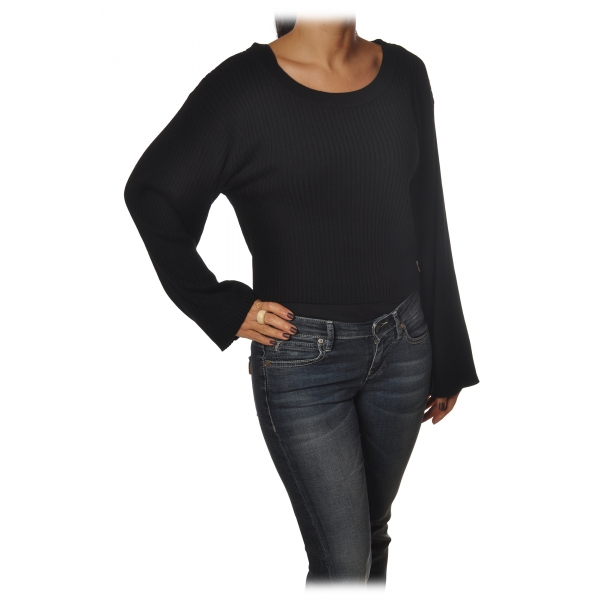 Patrizia Pepe - Sweater in Ribbed Yarn - Black - Pullover - Made in Italy - Luxury Exclusive Collection