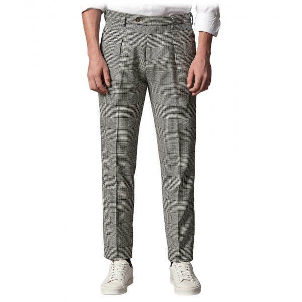 Cruna - Raval Prince of Wales Wool Trousers - 474 - Anthracite - Handmade in Italy - Luxury High Quality Pants