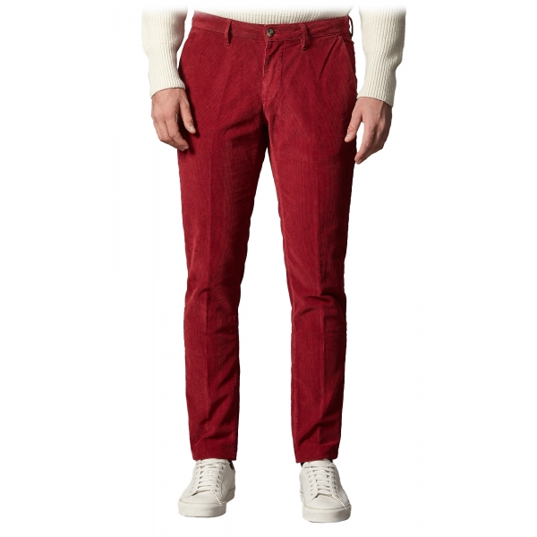 Cruna - New Town Trousers in Cotton Corduroy - 464 - Red - Handmade in Italy - Luxury High Quality Pants