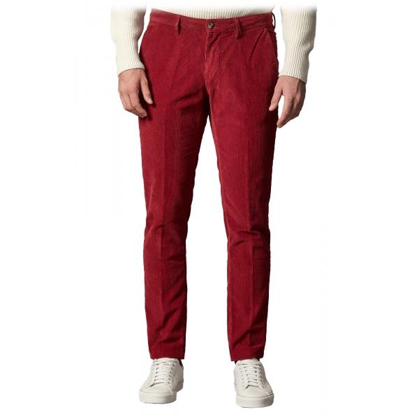 Cruna - Pantalone New Town in Velluto di Cotone - 464 - Rosso - Handmade in Italy - Pantaloni di Alta Qualità Luxury