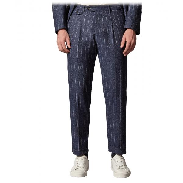 Cruna - Pantalone Raval in Gessato di Lana - 636 - Blu Notte - Handmade in Italy - Pantaloni di Alta Qualità Luxury