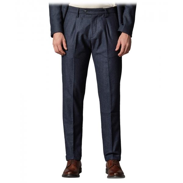 Cruna - Raval Trousers in Herringbone Wool - 478 - Blue - Handmade in Italy - Luxury High Quality Pants