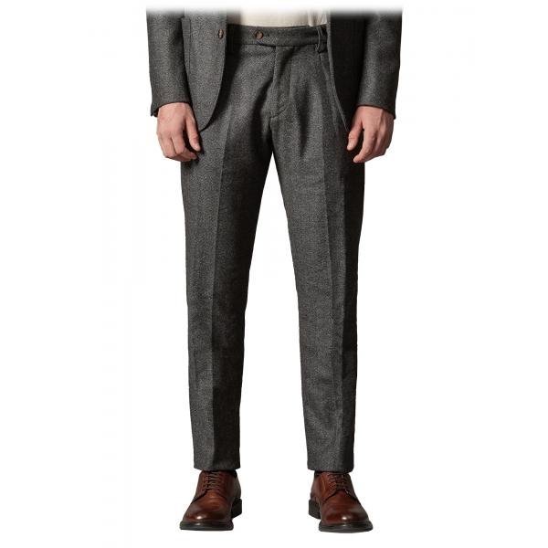Cruna - Raval Trousers in Herringbone Wool - 478 - Grey - Handmade in Italy - Luxury High Quality Pants