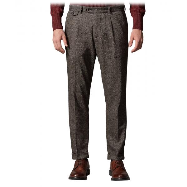 Cruna - Pantalone Raval in Lana Bottonata - 635 - Marrone Caffè - Handmade in Italy - Pantaloni di Alta Qualità Luxury