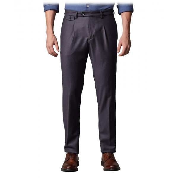 Cruna - Pantalone Raval in Flanella di Lana - 628 - Blu Notte - Handmade in Italy - Pantaloni di Alta Qualità Luxury
