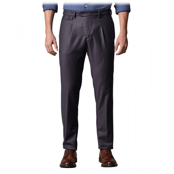 Cruna - Raval Trousers in Wool Flannel - 628 - Night Blue - Handmade in Italy - Luxury High Quality Pants