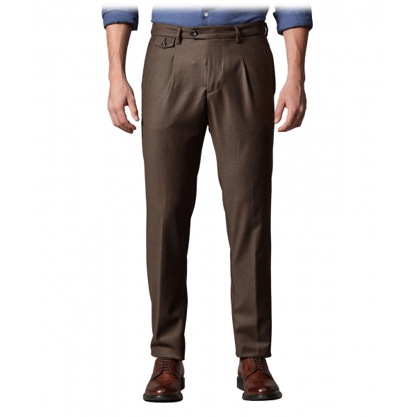 Cruna - Raval Trousers in Wool Flannel - 628 - Coffee Brown - Handmade in Italy - Luxury High Quality Pants