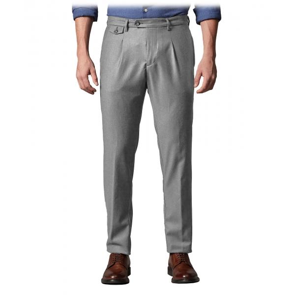 Cruna - Pantalone Raval in Flanella di Lana - 628 - Grigio Roccia - Handmade in Italy - Pantaloni di Alta Qualità Luxury