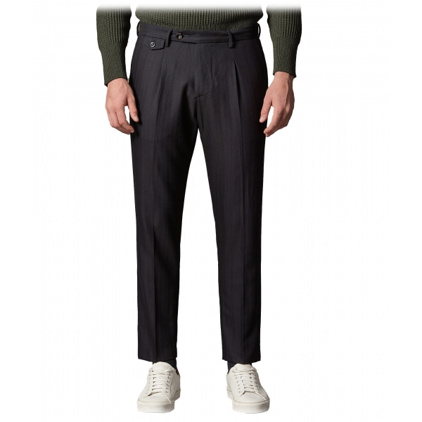 Cruna - Raval Trousers in Wool and Cotton - 623 - Night Blue - Handmade in Italy - Luxury High Quality Pants
