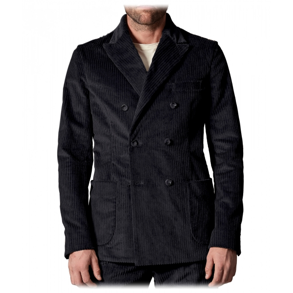 Cruna - Chelsea Jacket in Corduroy - 611 - Night Blue - Handmade in Italy - Luxury High Quality Jacket
