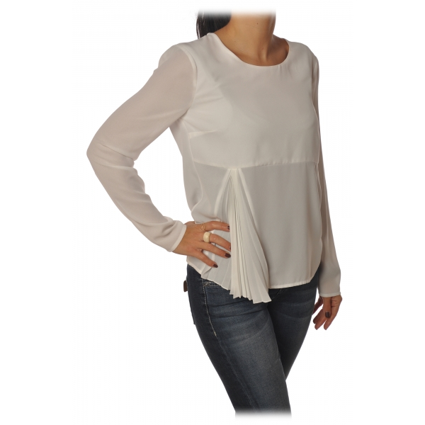 Patrizia Pepe - Tunic with Long Sleeve and Cut on the Front - White - Shirt - Made in Italy - Luxury Exclusive Collection