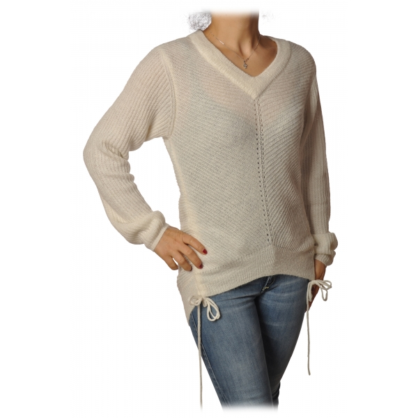 Patrizia Pepe - Sweater with Front and Back Opening - White - Pullover - Made in Italy - Luxury Exclusive Collection