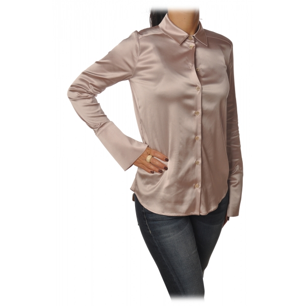Patrizia Pepe - Long Sleeve Shirt with Buttons - Antique Pink - Shirt - Made in Italy - Luxury Exclusive Collection