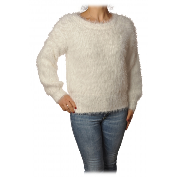 Patrizia Pepe - Sweater Round Neck in Hairy Yarn - White - Pullover - Made in Italy - Luxury Exclusive Collection