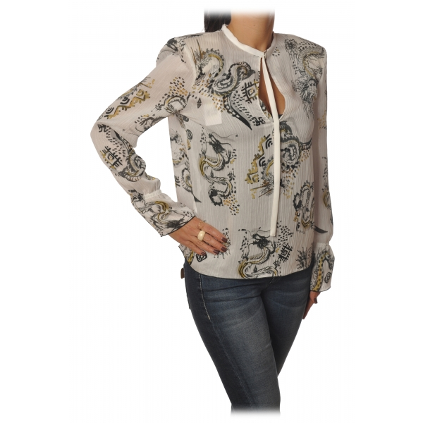 Patrizia Pepe - Soft Blouse in Dragon Pattern - White - Shirt - Made in Italy - Luxury Exclusive Collection