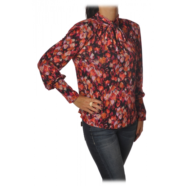 Patrizia Pepe - Tunic with High Collar in Fantasy - Flower Fantasy - Shirt - Made in Italy - Luxury Exclusive Collection